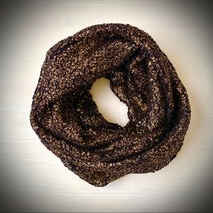 Express Accessories - Express Black with gold glitter infinity scarf